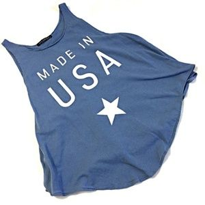 Wildfox Made in USA Cassidy Tank Top Blue M